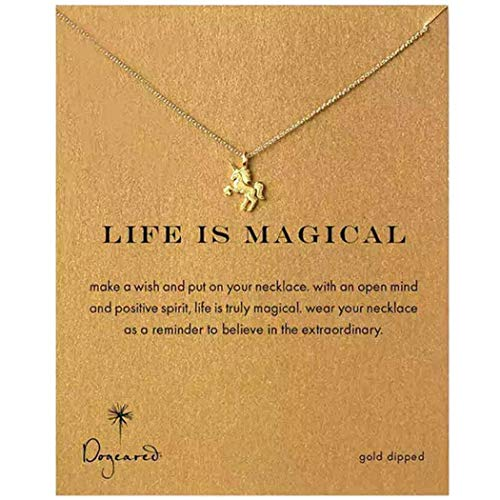 (CARDEON Clover Necklace Unicorn Good Luck Elephant Cross Starfish Swan Necklace with Message Card Gift Card)