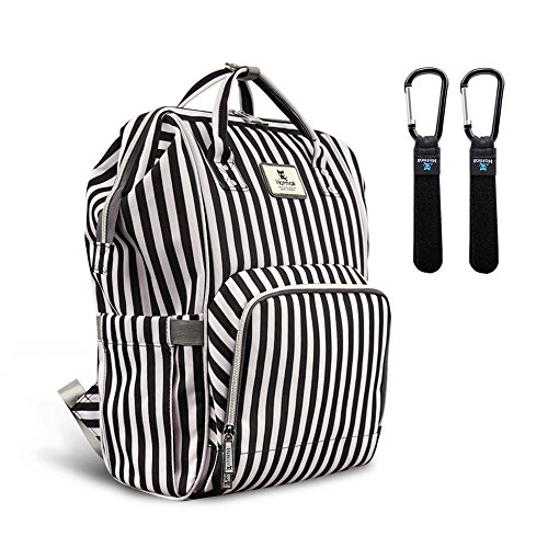 Hafmall Diaper Bag Backpack Waterproof Multi-Function Travel Bags, Large Capacity and Durable Backpack with Stroller Straps (Black & White Stripes)