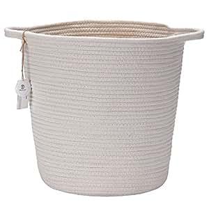 "Sea Team 13.8""H x 10.2""D Natural Cotton Thread Woven Rope Storage Basket Bin Hamper with Handles for Nursery Kid's Room Storage (Tall, White)"