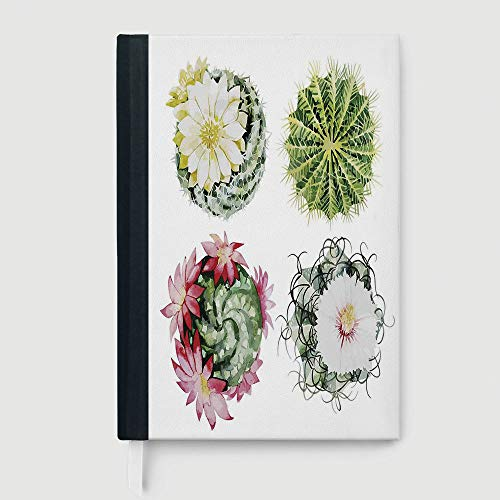Casebound Hardcover Notebooks,Cactus Decor,College Ruled Notebook/Composition/Journals/Dairy/Office Note Books,Mexican Hot Desert Cactus Flower Plant Botanic Nature Vintage Print Image,96 Ruled Sheets (5620 Notebook)