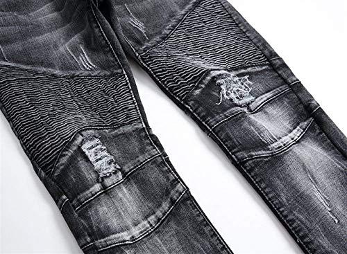 Uomo Blacka Casual Battercake Skinny Strappati Da Pantaloni Comodo Ufig Motociclista Elasticizzati Denim 66wt1xPq