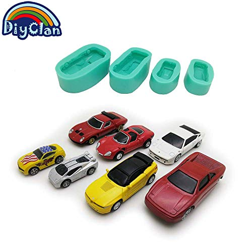 (Car shape silicone molds for cake decorating chocolate fondant mold sports racing cars soap polymer clay mould baking tools)