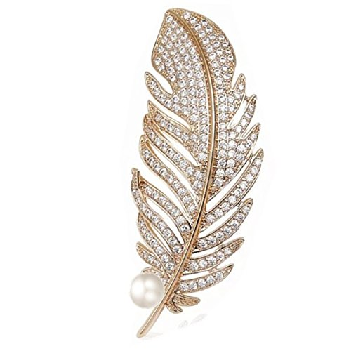 Mondora Women's Peacock Feather Wedding Brooch Pin Simulated Pearl Cubic Zirconia Gold-Tone Clear