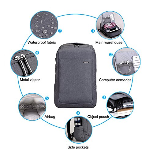 Headphone Waterproof 2016 with Business Gray Suit to up Multi Port 15 Bag for inch Fabric Macbook compartment Air Laptop 4 Kingsons Backpack Pro ECqCxf1