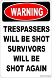 Glad grace Warning TRESPASSERS Will BE Shot Survivors Will BE Shot Again Aluminum 8 x 12 Tin Metal Novelty Danger Sign