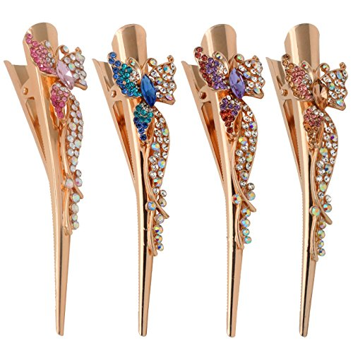 Fashion & Lifestyle Set of 4 Large Metal - Crystal Alligator Clip