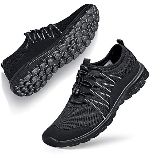 Sneakers for Women Shoes Fashion Black Sneakers for Womens Slip on Walking Work Nursing Casual Shoes for go Walk Trail Yoga Dance Zomba All Black 5 M US
