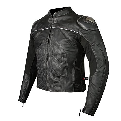 (Titanium Motorcycle Leather Jacket Cowhide Street Cruiser Armor Riding Black L)