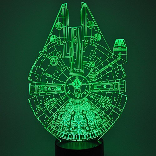 Optical Illusion 3D Glow LED Lighting Toys Nightlight with 7 Colors Changing Decor Lamp (Star Wars Millennium Falcon Model)