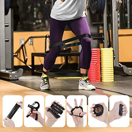 Peradix Hand Grip Strengthener Workout Kit, 6 Pack Forearm Grip Adjustable Resistance Hand Gripper, Finger Exerciser, Finger Stretcher, Grip Ring, ResistanceBands & Stress Relief Ball for Athletes