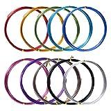 10 Rolls Assorted Colors Aluminium Craft Wire for DIY Craft, 1 mm in Diameter, 5 Meters Long