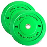 """Body Revolution Rubber Bumper Weight Plates Coloured Olympic 2"""" Discs for Barbells & Crossfit (1.25kg - 25kg) (10kg pair)"""