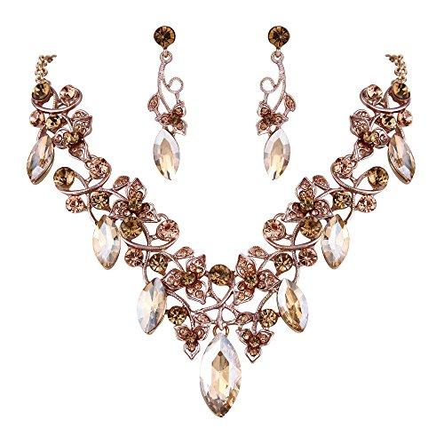 BriLove Women's Bohemian Boho Crystal Floral Vine Leaf Statement Necklace Dangle Earrings Set Champagne Color Gold-Tone