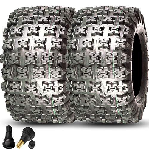 (GPS GRAVITY Set of 2 20x11-9 ATV Tires, 4 Ply, Tubeless, with Valve Stems, Honda TRX 250R 250X 250EX 300 400 450 450ER)