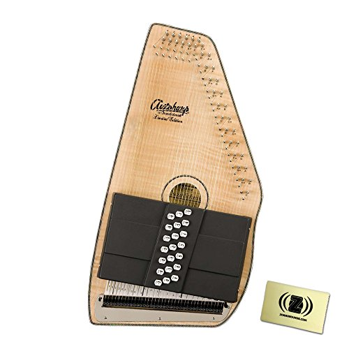 Oscar Schmidt OS110-21FNE 21 Chord Flame Maple Autoharp with Fine Tuning System Bundle - Includes Polishing Cloth - Natural by Oscar Schmidt