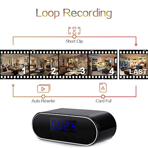 720P HD WiFi Spy Camera Clock - Covert Video Recorder Support Smartphone Remote View, 24/7 Days Working, 16GB Memory Card Built-in