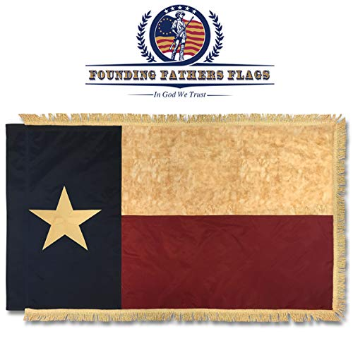 - Texas Vintage Home Banner w/Gold Fringe - 3x5' Oxford Poly Embroidered Banner w/Sleeve - Founding Fathers Flags