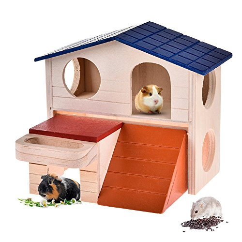 ZEROYOYO Wooden Double Chalet Luxury Villa Cage Building Furniture Pet Supplies for Hamster Hedgehog Mouse Rat