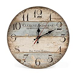 LOHAS Home 12 Inch Silent Vintage Design Wooden Round Wall Clock (Victor Hugo)