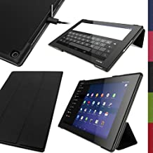 """iGadgitz Premium Black PU Leather Smart Cover Case for Sony Xperia Z2 Tablet SGP511 10.1"""" with Auto Sleep/Wake + Multi-Angle Viewing Stand + Screen Protector"""