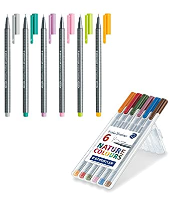 Triplus Fineliner Nature Colours with Staedtler Triplus Fineliner Pens 6-Color Pastel Set