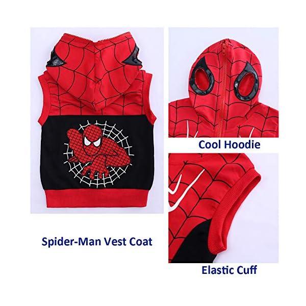 Set di Abbigliamento Bambini Completino Spiderman Maniche Lunghe Tute Ragazze Felpa con Cappuccio Camicie e Pantaloni… 4