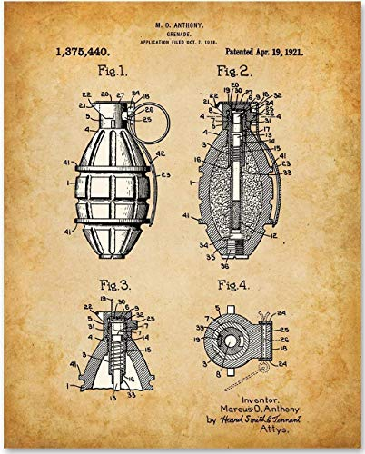 Hand Grenade - 11x14 Unframed Patent Print - Makes a Great Gift Under $15 for Veterans and members of the Military