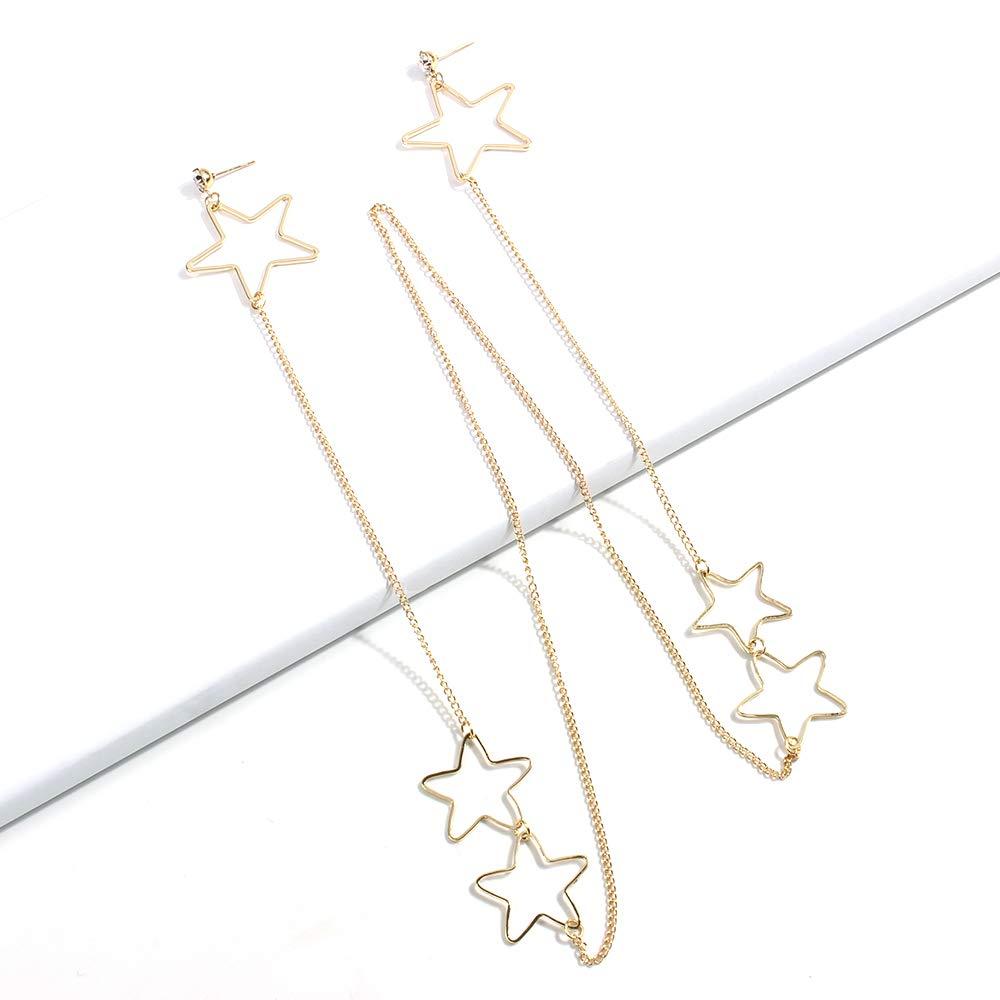 YAZILIND simple alloy long chain earrings hang neck earring one-piece earrings pentagram personality earrings chain jewelry for women