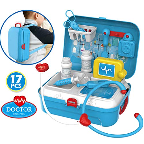 COLOR-LILIJ Children's Simulation Doctor's Tool Kit - Pretend-n-Play, Playhouse Backpack Box,with Electronic Stethoscope and Coat for Kids, School Classroom and Doctor Roleplay Costume Dress-Up.]()