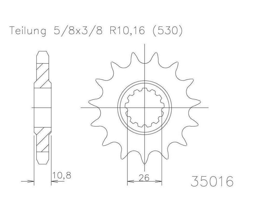 Ritzel 15 Z/ähne Stahl 530er Teilung 5//8x3//8 f/ür Yamaha YZF R1 RN191 2007-2008