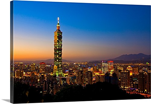 Canvas on Demand Premium Thick-Wrap Canvas Wall Art Print entitled Taipei 101 skyscraper with sunset, Taipei Basin background. 48