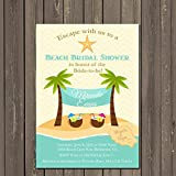 Beach Bridal Shower Invitation with Palm Trees and Drinks, Destination Wedding Invitation, Beach Couples Shower Invitation, Custom Invitation
