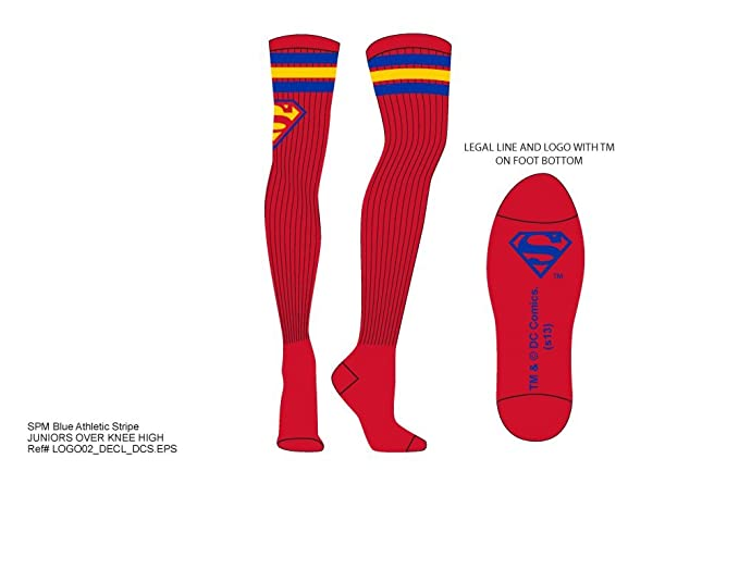 e1a2198e293 Image Unavailable. Image not available for. Color  Superman Over the Knee  Athletic Stripe Socks