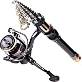 Sougayilang Mini Spinning Fishing Rod and Reel Combos Portable Pocket Telescopic Fishing Pole Reel for Travel Saltwater Freshwater Fishing …