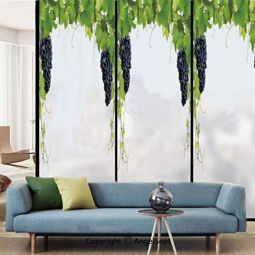 AngelSept Window Film Decorate Glass Film,Wine Leaf with Loose Bunch of Large Berries Tannin Breed French Village,W15.7xL63in,for Bathroom Bedroom Living Room,Green Black