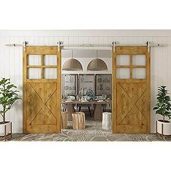 Diyhd 8ft Brushed Nickel Steel Sliding Barn Wood Door Hardware Double Door  Bi Parting Wood
