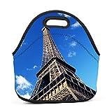 Family Dream Paris Tower Eiffel Lunch Bag Portable Handbag Bento Pouch Lunchbox Baby Bag Multi-purpose Zipper Satchel for Outdoor Tour School Office Picnic Storage Bag