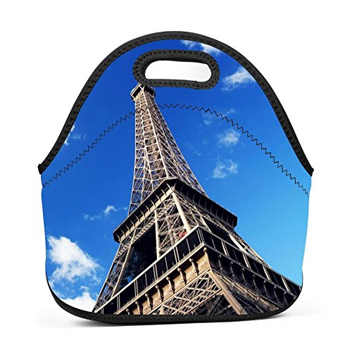 Family Dream Paris Tower Eiffel Lunch Bag Portable Handbag Bento Pouch Lunchbox Baby Bag Multi-purpose Zipper Satchel for Outdoor Tour School Office Picnic Storage Bag by Family Dream