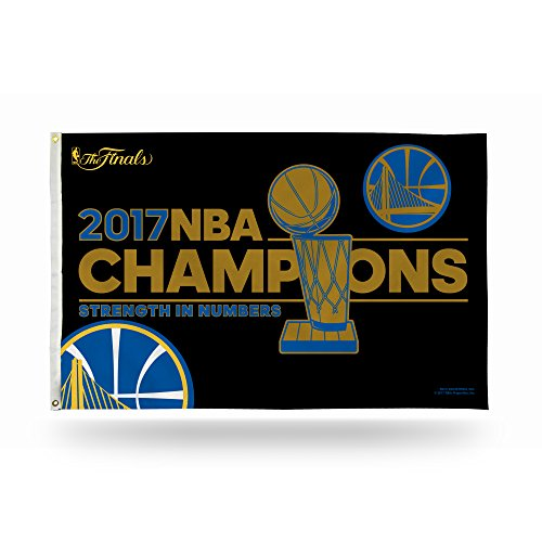 Rico Industries NBA Golden State Warriors 2017 Basketball Champions Banner Flag, 3-Foot x 5-Foot, Royal Blue, Gold (Nba Championship Banner)