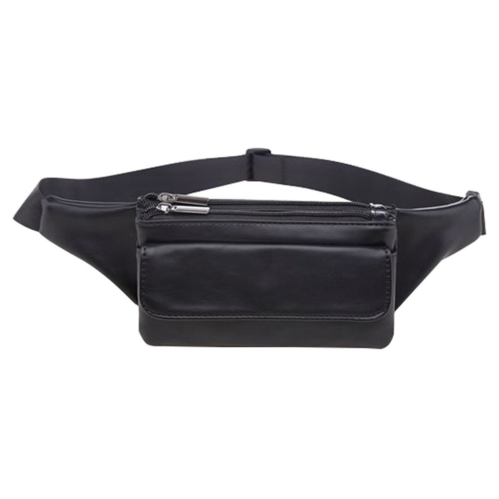 Kukoo Men Women/Bags Leather mini Fanny Pack Black Waist Pack with Cell Phone Pouch Belt Bag