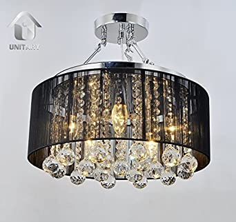 Unitary BRAND Modern Crystal Drops Drum Semi Ceiling Light