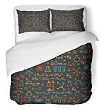 Emvency 3 Piece Duvet Cover Set Breathable Brushed Microfiber Fabric School Hand Draw Chemistry on Black Education Chemical Formula Atom Symbol Structure Bedding with 2 Pillow Covers Full/Queen Size