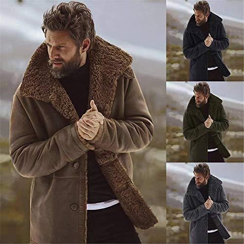 Hommes Doublée D'hiver Mouton De Laine Pour Manteau Peau Chaude Noir Capuche Épaisse En À Veste Kenebo TAgq44