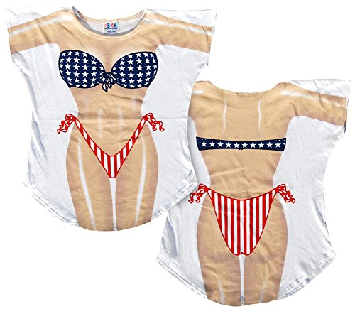 Stars & Stripes Bikini Cover-Up T-Shirt Size L/XL