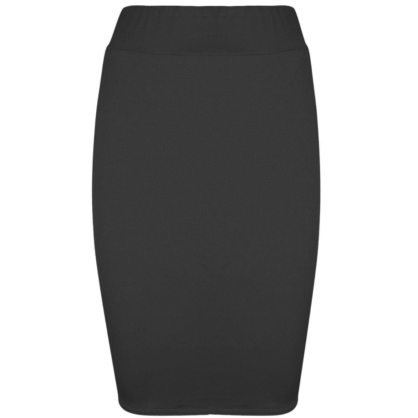 Be Jealous Womens Pencil Plain Jersey Ladies Stretchy Office Bodycon Skirt Plus