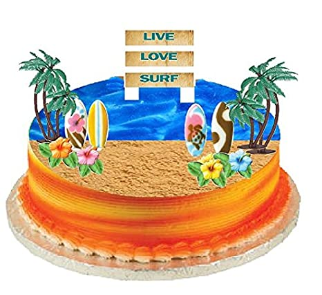 Groovy Cakesupplyshop Surf Cake Topper With Edible Sugar Surfboards Personalised Birthday Cards Petedlily Jamesorg