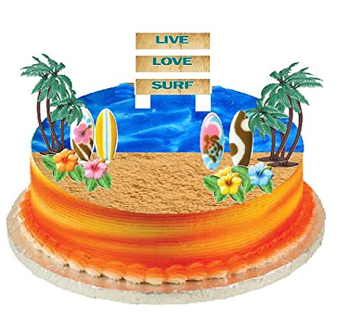 CakeSupplyShop Surf Cake Topper with Edible Sugar Surfboards, Edible Sugar Hibiscus Flowers, Palm Trees and Surf Sign
