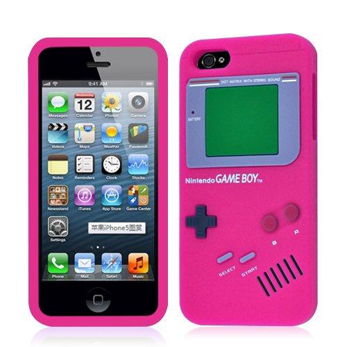 iPhone 5 diseño de Game Boy Rosa carcasa de silicona + ...