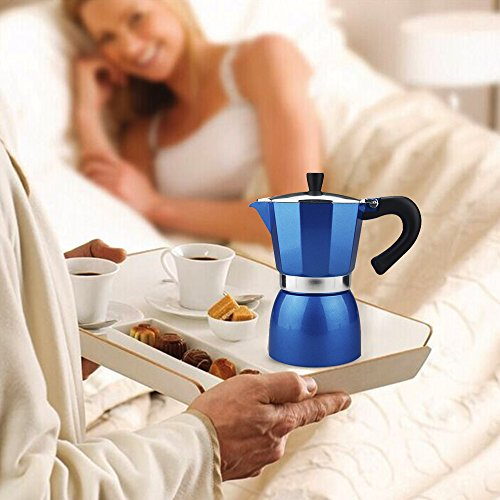 Blue Italian Coffee Maker : Aluminum 4-Cup Coffee Moka Pot Italian Espresso Maker Percolator Blue, 240ml Coffee Store