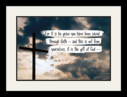 Ephesians 2:8 For it is by grace - Christian Poster, Print, Picture or Framed Wall Art Decor - Bible Verse Collection - Religious Gift For Holidays Christmas Baptism (19x25 Framed) by WeSellPhotos